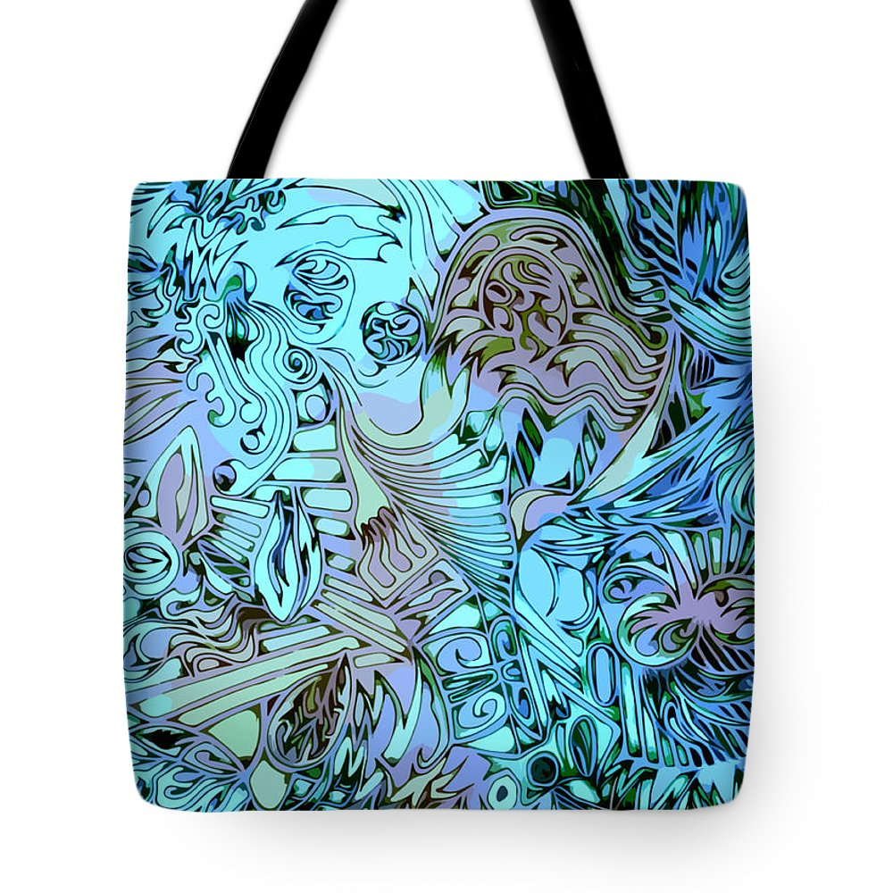 Abstract Seacorc Blue Tote Bag featuring the painting Blue Cow by Sean Corcoran