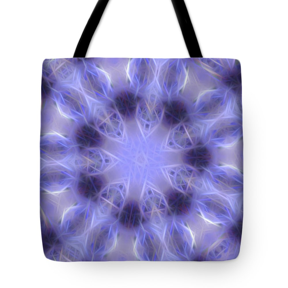 Blue Tote Bag featuring the digital art Blue Crystallized 2 by Rhonda Barrett