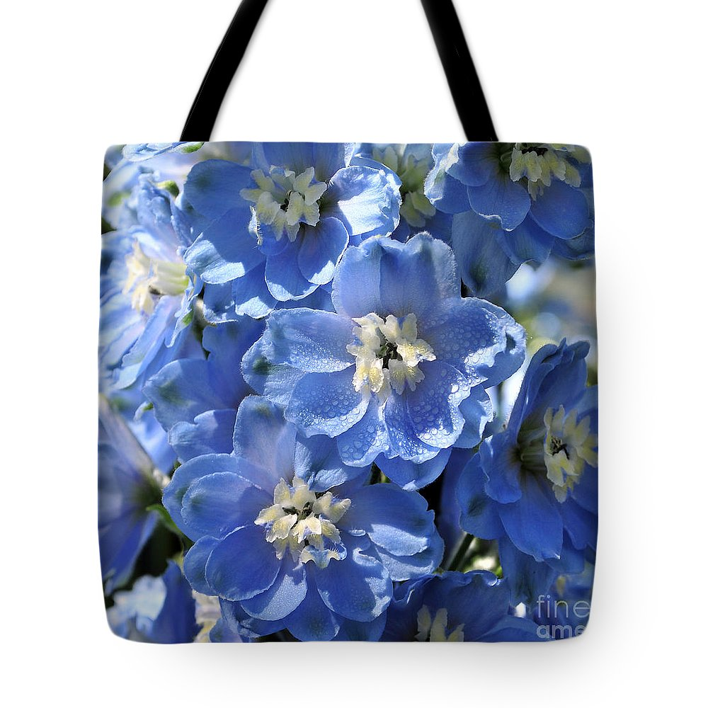Flower Tote Bag featuring the photograph Blue Delphinium 9656 by Terri Winkler