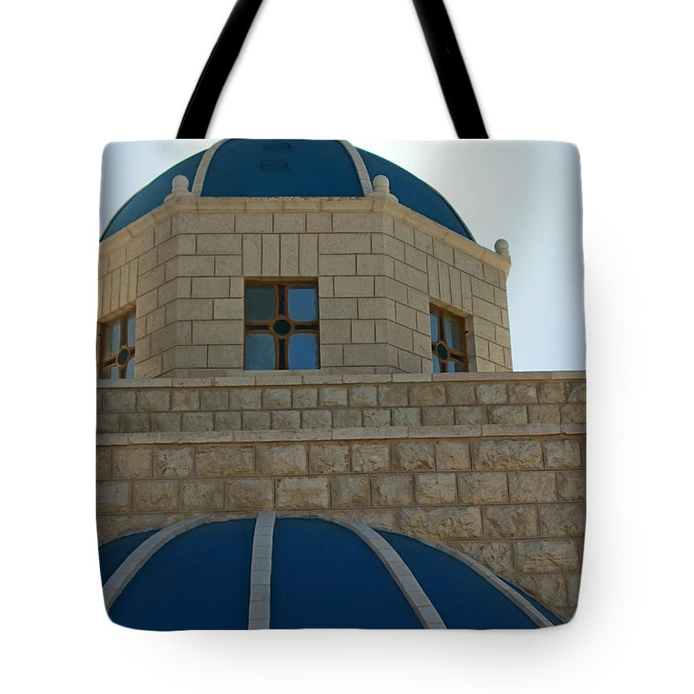 Orthodox Tote Bag featuring the photograph Blue Domes by Munir Alawi