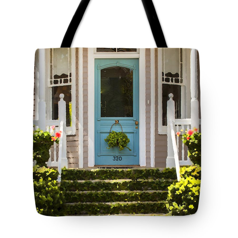 St. Augustine Tote Bag featuring the photograph Blue Door Ivy Stairs by Rich Franco