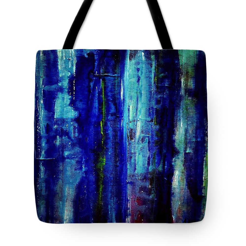 Abstract Tote Bag featuring the painting Blue Dreams by Dimitra Papageorgiou