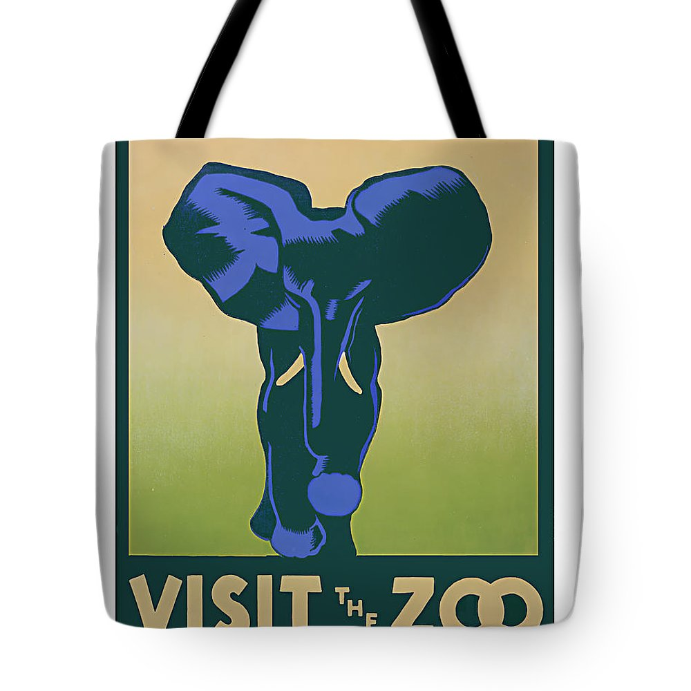 Zoo Zoological+park Elephant Animal Mammal Africa Vintage Wpa Work+projects+administration 1930s 1940s Modern Contemporary Support+the+arts Tote Bag featuring the painting Blue Elephant Visit The Zoo by Elaine Plesser