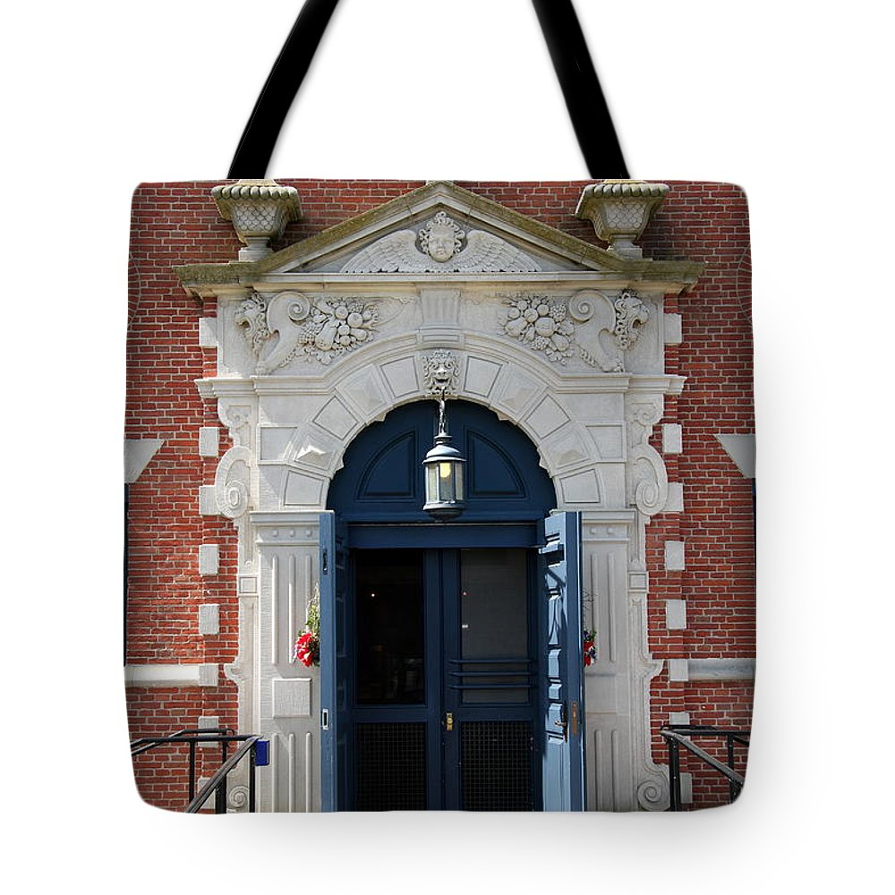 Entrance Tote Bag featuring the photograph Blue Entrance Door by Christiane Schulze Art And Photography