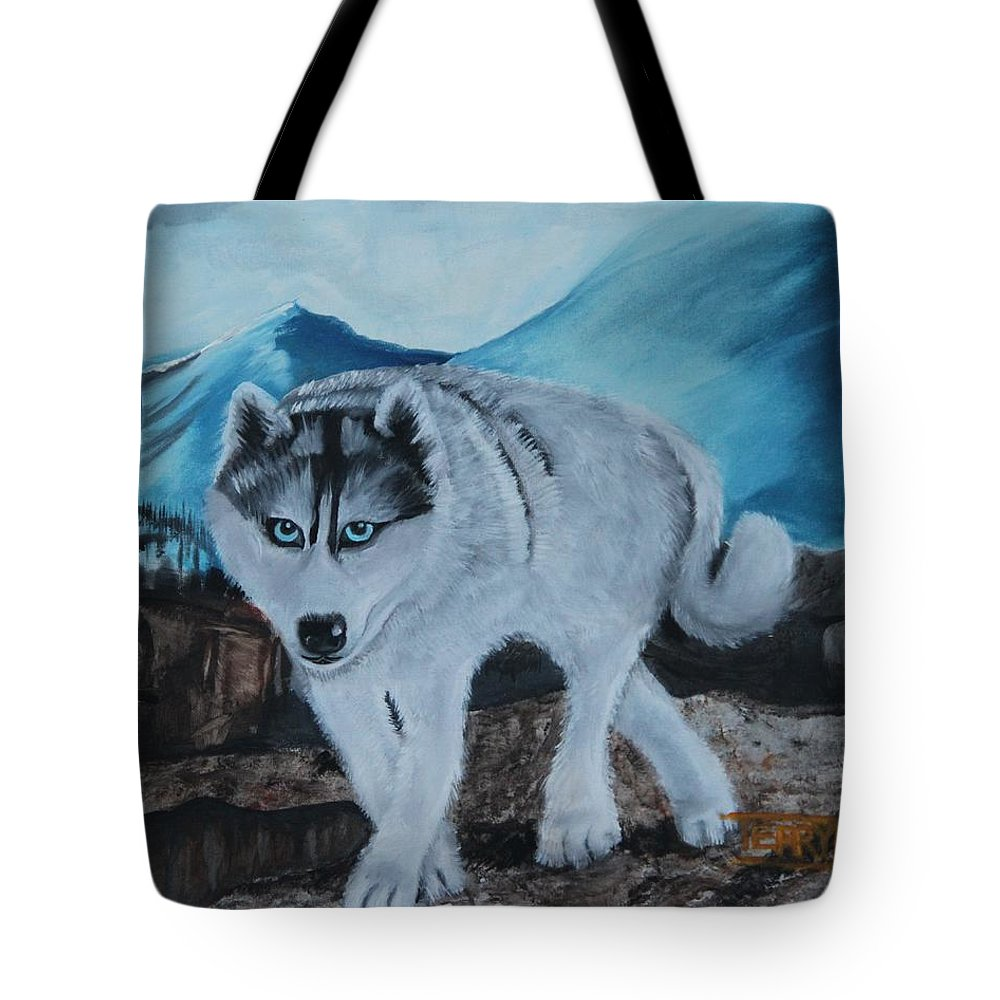 Husky Tote Bag featuring the painting Blue Eyed Husky by Terry Lewey