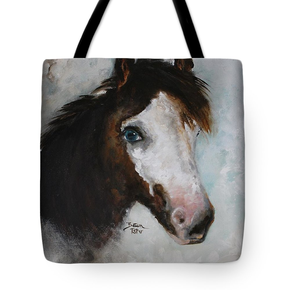 Miniature Horse Tote Bag featuring the painting Razzle The Miniature Horse by Barbie Batson