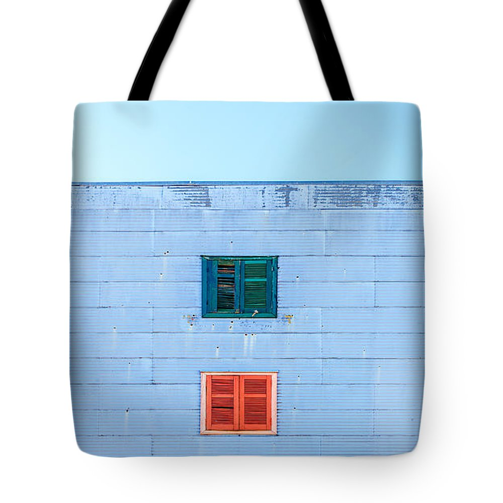 Argentina Tote Bag featuring the photograph Blue Facade And Colorful Windows by Jess Kraft