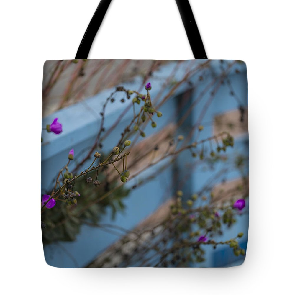 Fence Tote Bag featuring the photograph Blue Fence Purple Flowers by Scott Campbell