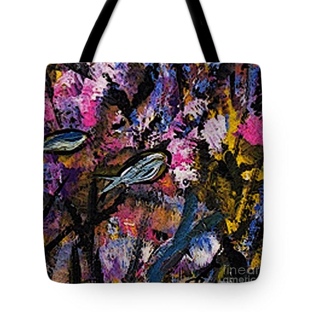 blue Fish Aquarium Tote Bag featuring the painting Blue Fish Aquarium by James Daugherty