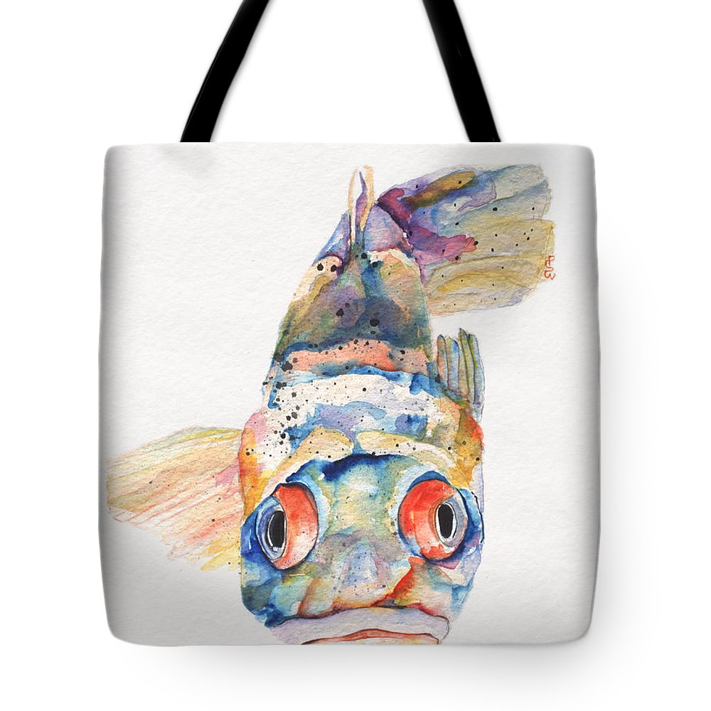 Pat Saunders-white Tote Bag featuring the painting Blue Fish  by Pat Saunders-White