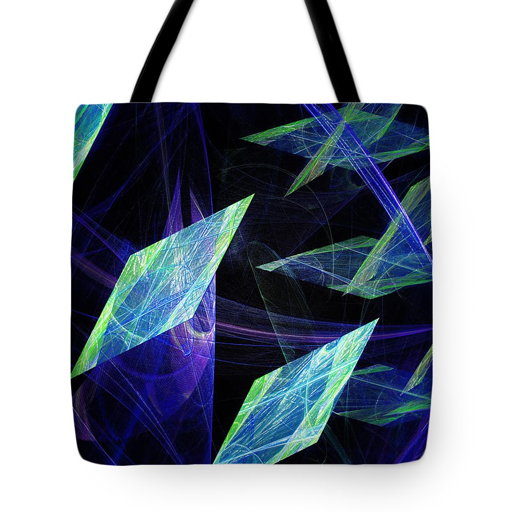 Abstract Tote Bag featuring the digital art Blue Floating Diamonds by Andee Design