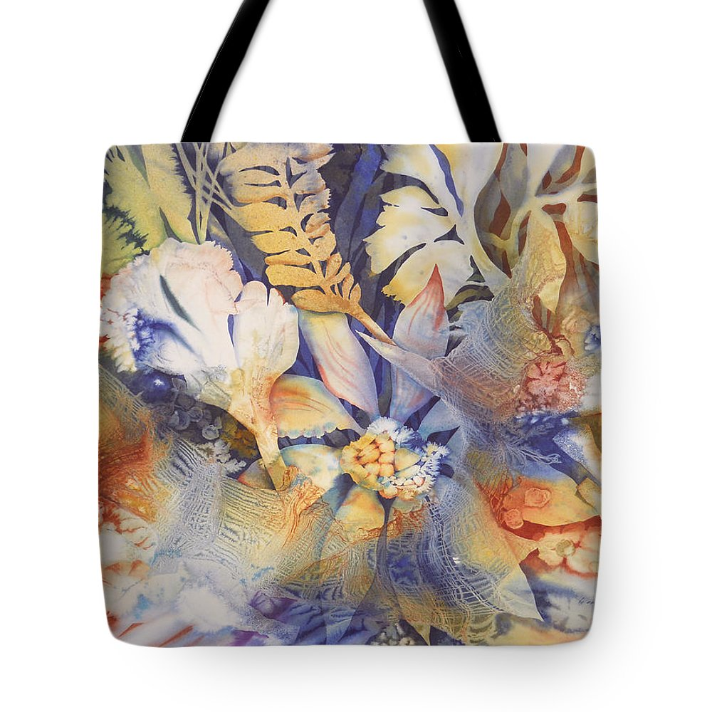 Abstract Tote Bag featuring the painting Blue Floral by Joye Moon