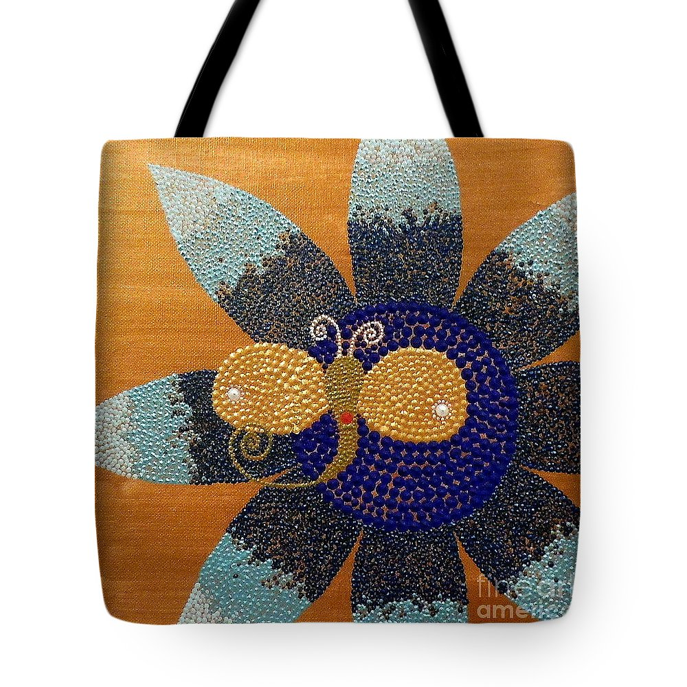 Blue Tote Bag featuring the painting Blue Flower And Dragonfly by Pruddygurl Exclusives