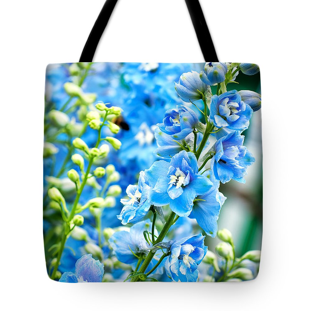Natural Tote Bag featuring the photograph Blue Flowers by Antony McAulay