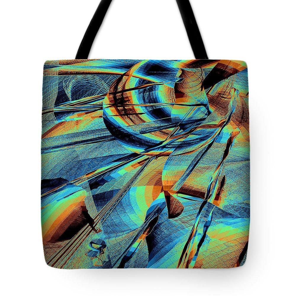 Mandala Tote Bag featuring the digital art Blue Flowpaper Solarized by Joy McKenzie