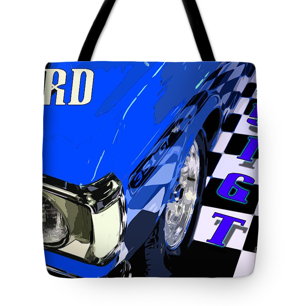 Ford Tote Bag featuring the photograph Blue Ford 351 Gt by Phill Petrovic