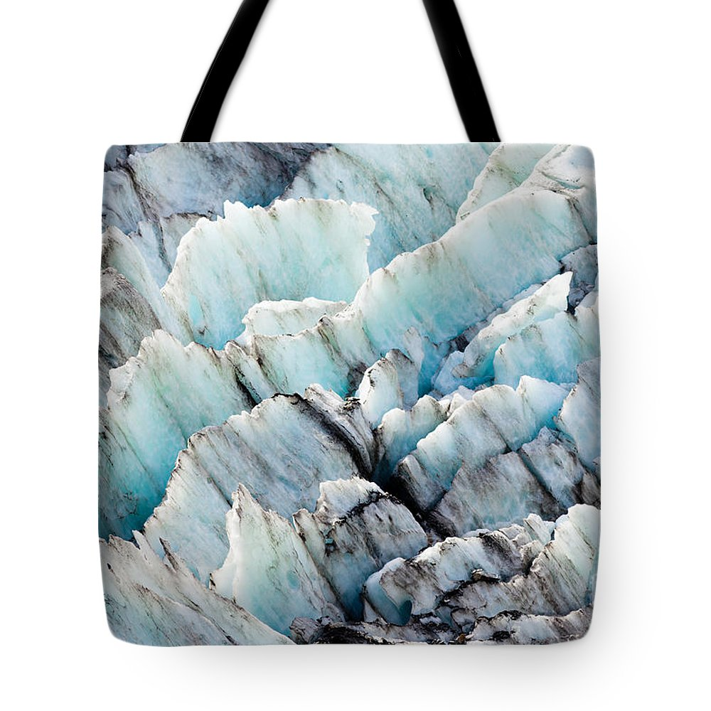 Abstract Tote Bag featuring the photograph Blue Glacier Ice Background Texture Pattern by Stephan Pietzko