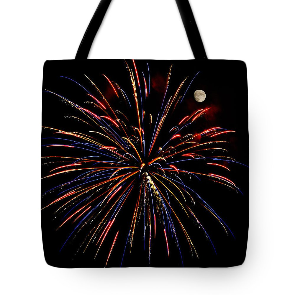 Abstract Tote Bag featuring the photograph Blue Gold Pink And More - Fireworks And Moon by Penny Lisowski