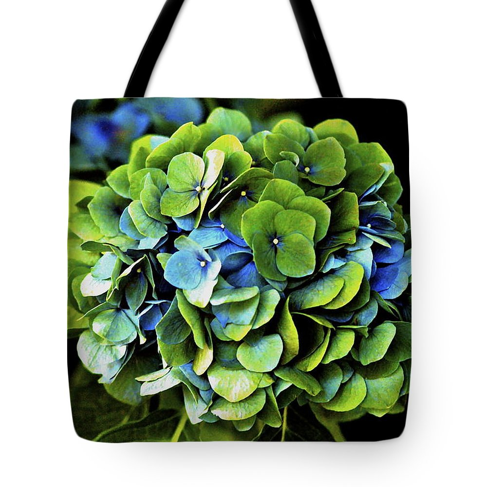 Hawaii Tote Bag featuring the photograph Blue Green Hydrangea by Lehua Pekelo-Stearns