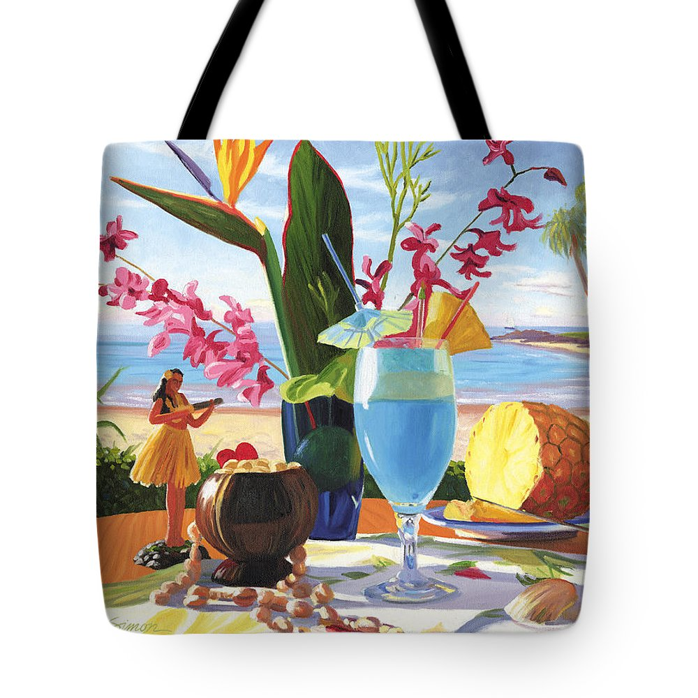 Blue Hawaiian Tote Bag featuring the painting Blue Hawaiian by Steve Simon