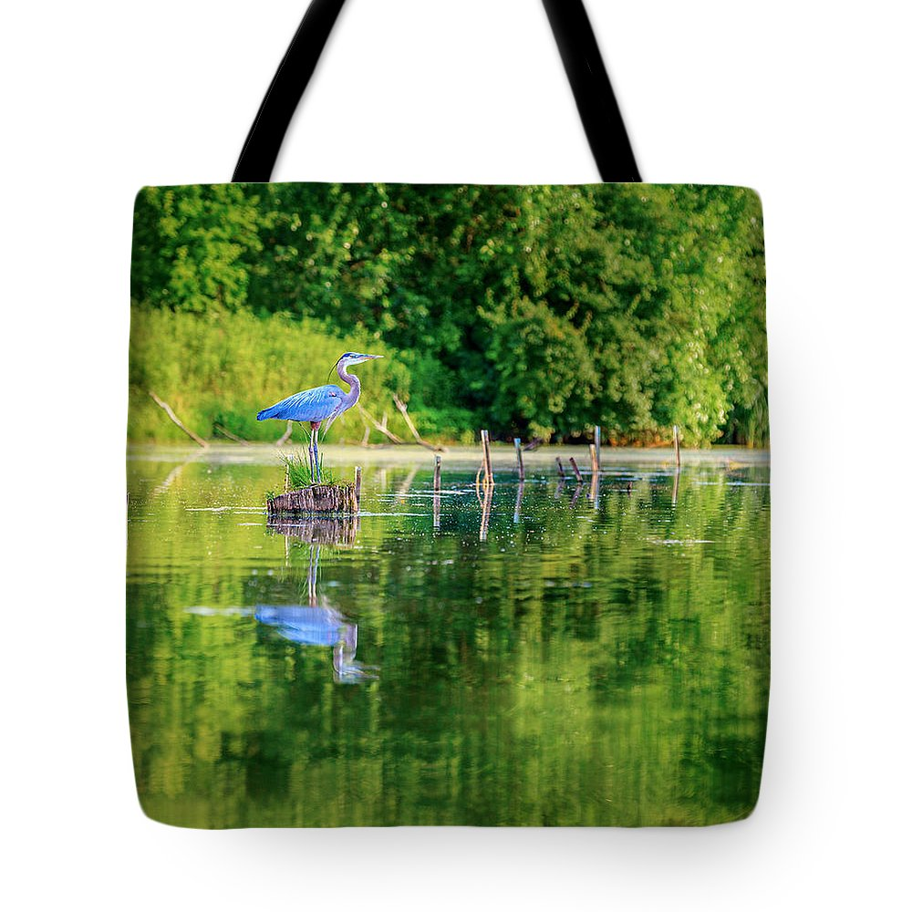 Heron Tote Bag featuring the photograph Blue Heron by Alexey Stiop