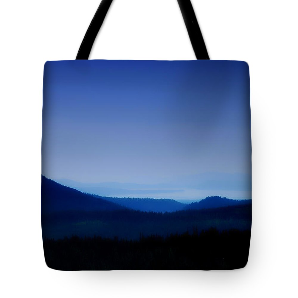 Mountains Tote Bag featuring the photograph Blue Horizon by Donna Blackhall