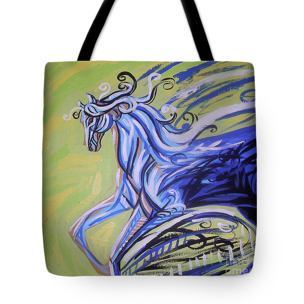 Blue Horse Tote Bag featuring the painting Blue Horse by Genevieve Esson