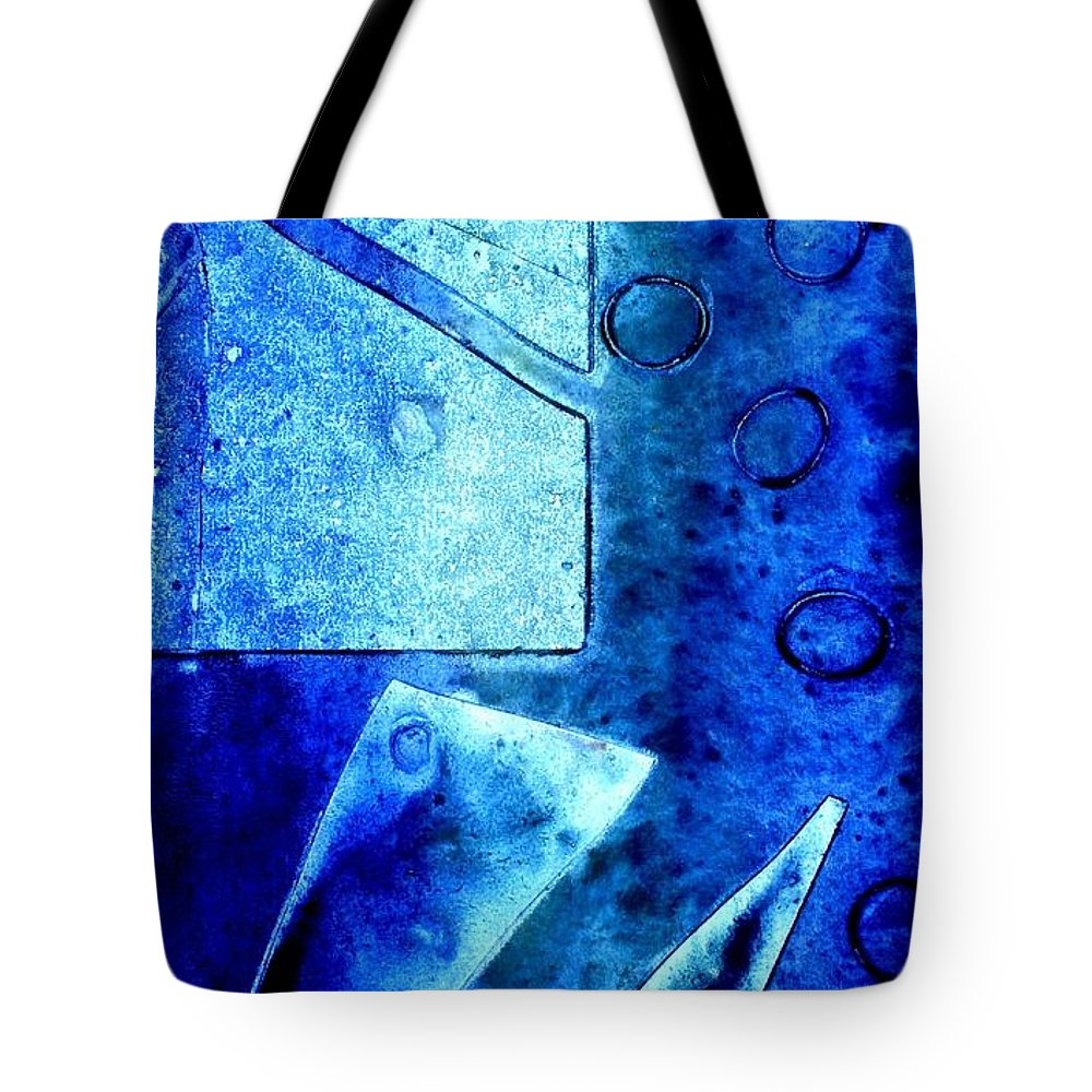 Abstract Tote Bag featuring the mixed media Blue  II by John Nolan