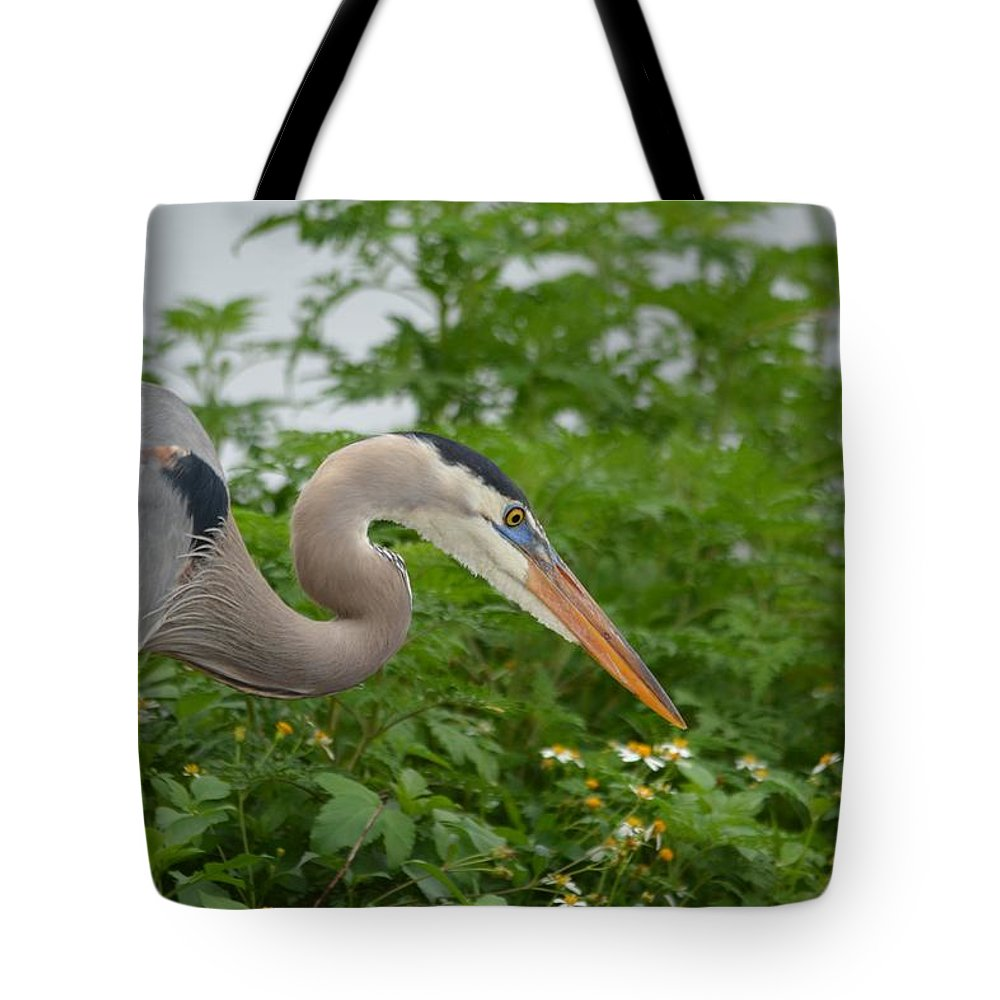 Great Blue Heron Tote Bag featuring the photograph Blue In The Greens by Patricia Twardzik