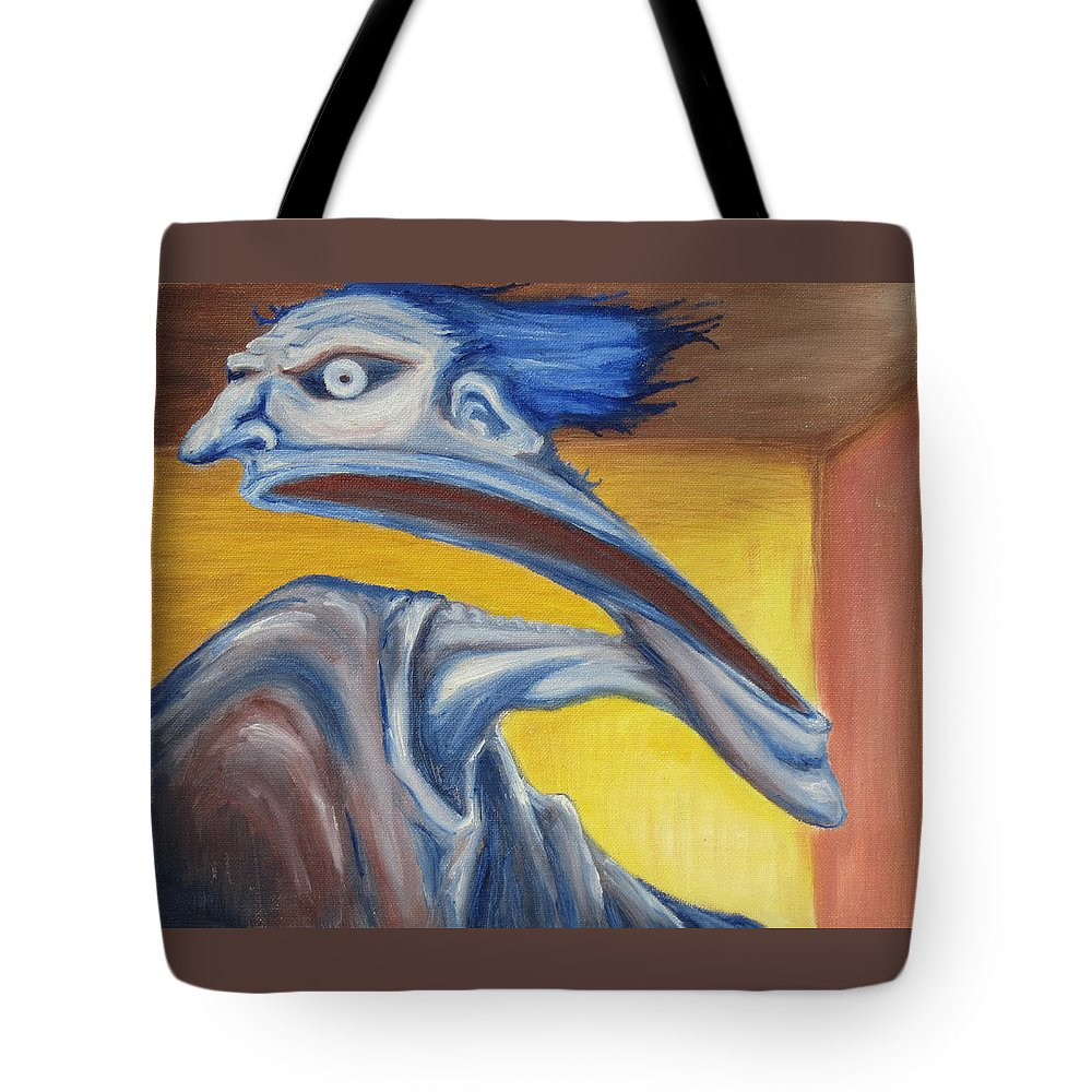 Surreal Tote Bag featuring the painting Blue - Internal by Jeffrey Oleniacz