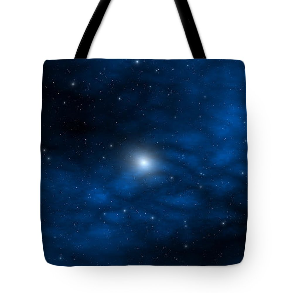 Space Tote Bag featuring the digital art Blue Interstellar Gas by Robert aka Bobby Ray Howle