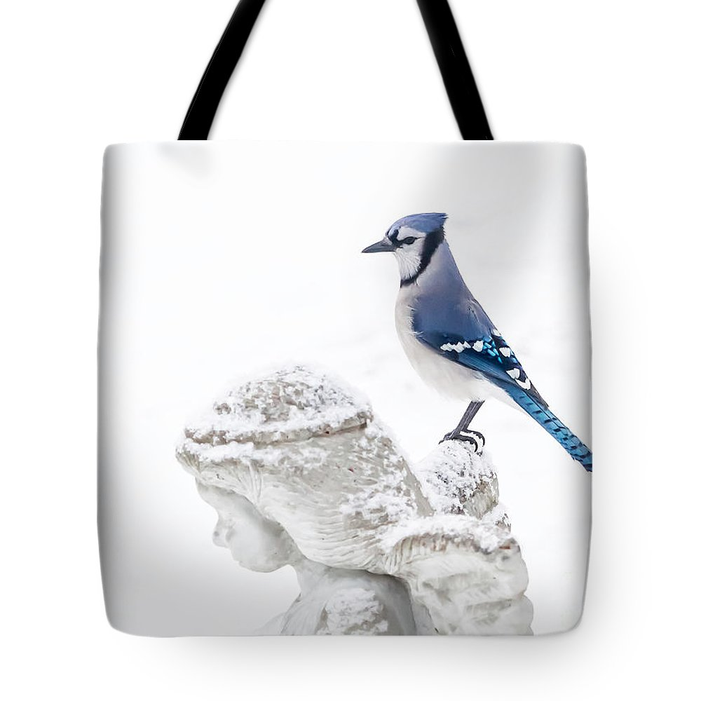 Blue Jay Tote Bag featuring the photograph Blue Jay On An Angel by Warrena J Barnerd