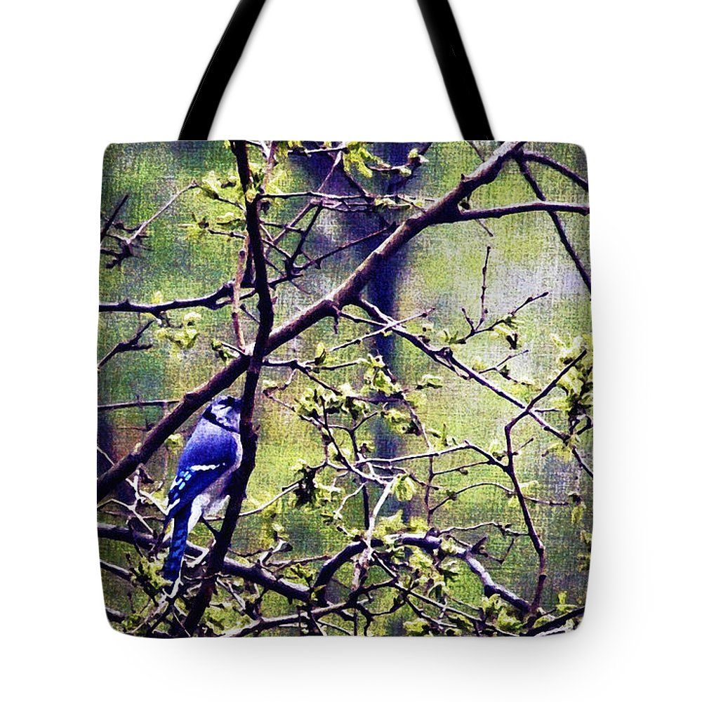 2d Tote Bag featuring the photograph Blue Jay - Paint Effect by Brian Wallace