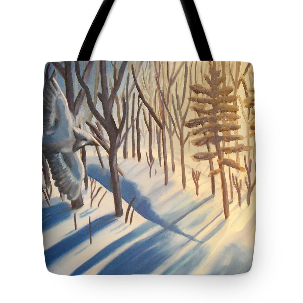 Landscape Tote Bag featuring the painting Blue Jay Winter by Christine McNulty