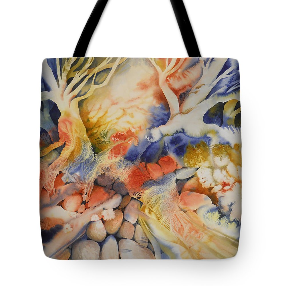 Landscape Tote Bag featuring the painting Blue Landscape by Joye Moon