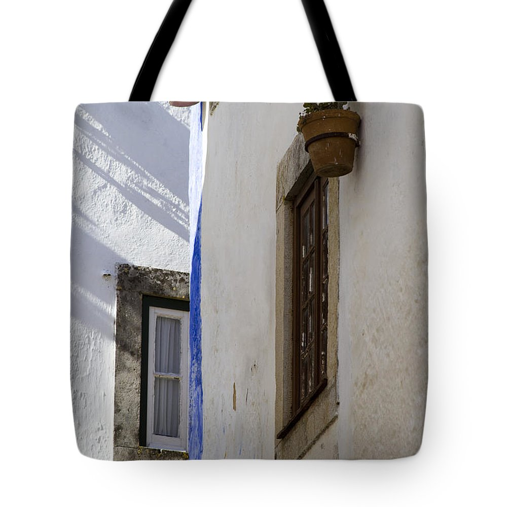 Architecture Tote Bag featuring the photograph Blue Line To The Corner by Heiko Koehrer-Wagner