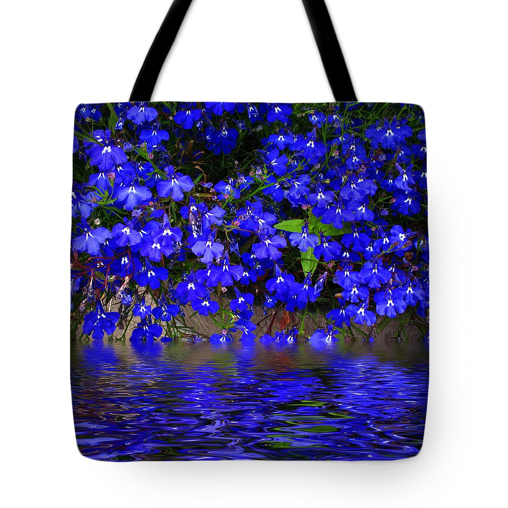 Flower Tote Bag featuring the photograph Blue Lobelia by Joyce Dickens