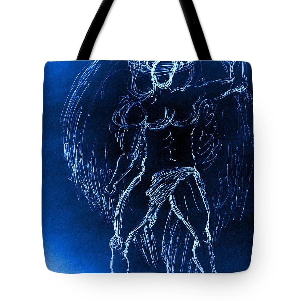 #giorgiotuscani #fineart #fineartamerica #angel #blue #art #bluewax #artcollectors #artgalleries #museum #modernart #contemporary #modernart #soulofmyart #wings #spiritual #love #illuminata #illuminate #nude #male #figure #giorgio #selfie #portraiture #religious #bible #halo #thevirgin Mary #madonna #virginmary #mary #church Tote Bag featuring the painting Blue Male Angel by Giorgio Tuscani