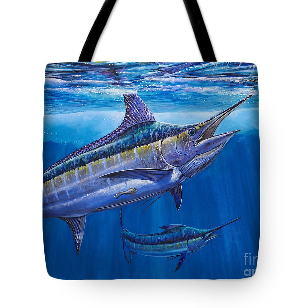 Blue Marlin Tote Bag featuring the painting Blue Marlin Bite Off001 by Carey Chen