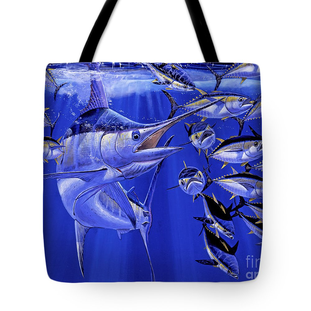 Blue Marlin Tote Bag featuring the painting Blue marlin round up Off0031 by Carey Chen