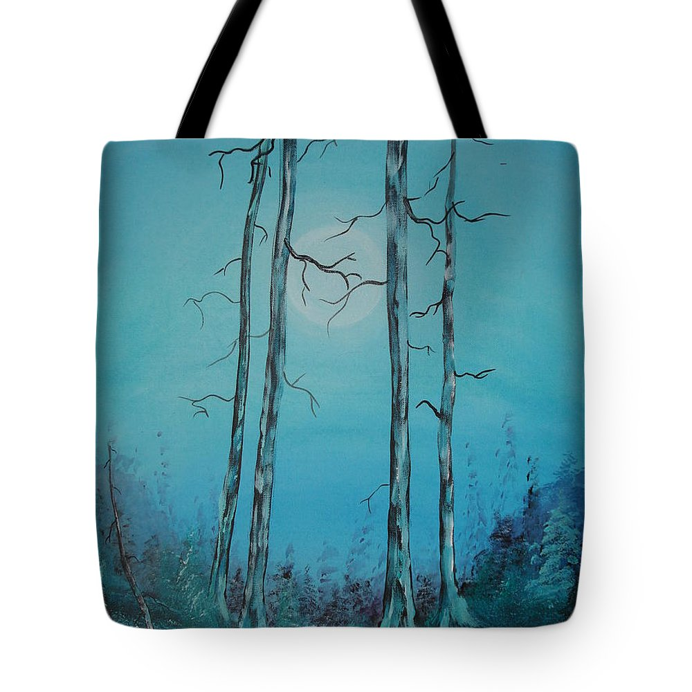 Moon Tote Bag featuring the painting Blue Moon by Krystyna Spink