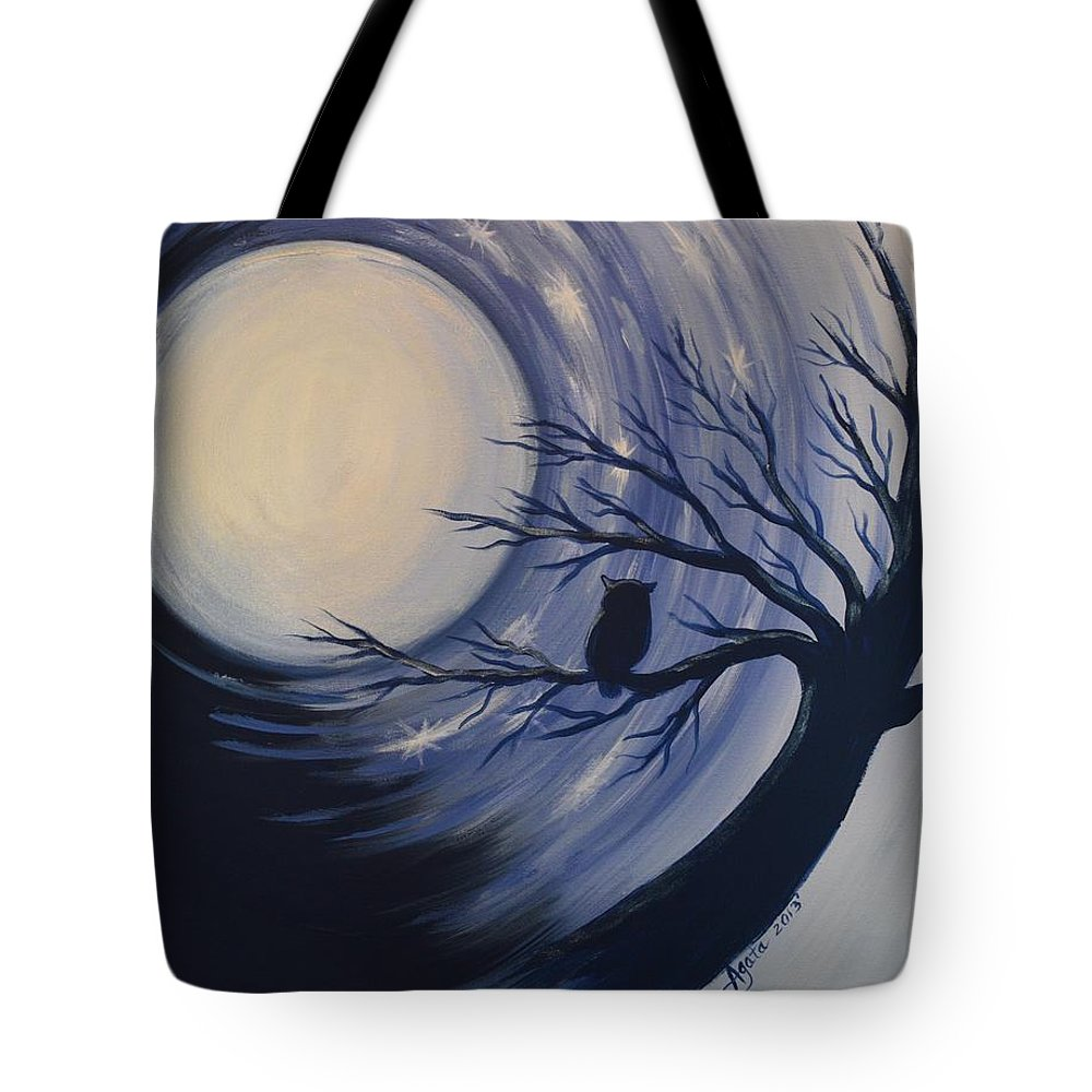 Owl Tote Bag featuring the painting Blue Moon Vortex With Owl by Agata Lindquist