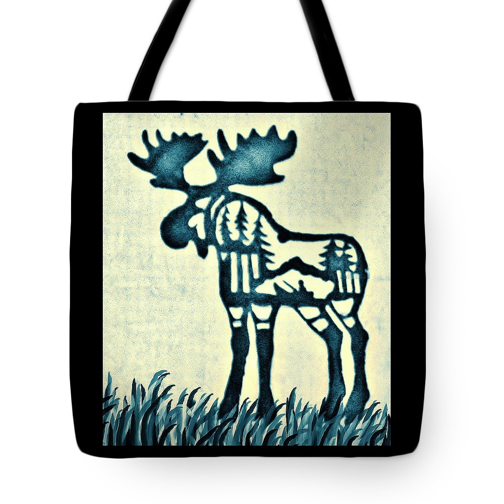 Moose Tote Bag featuring the pyrography Blue Moose by Larry Campbell