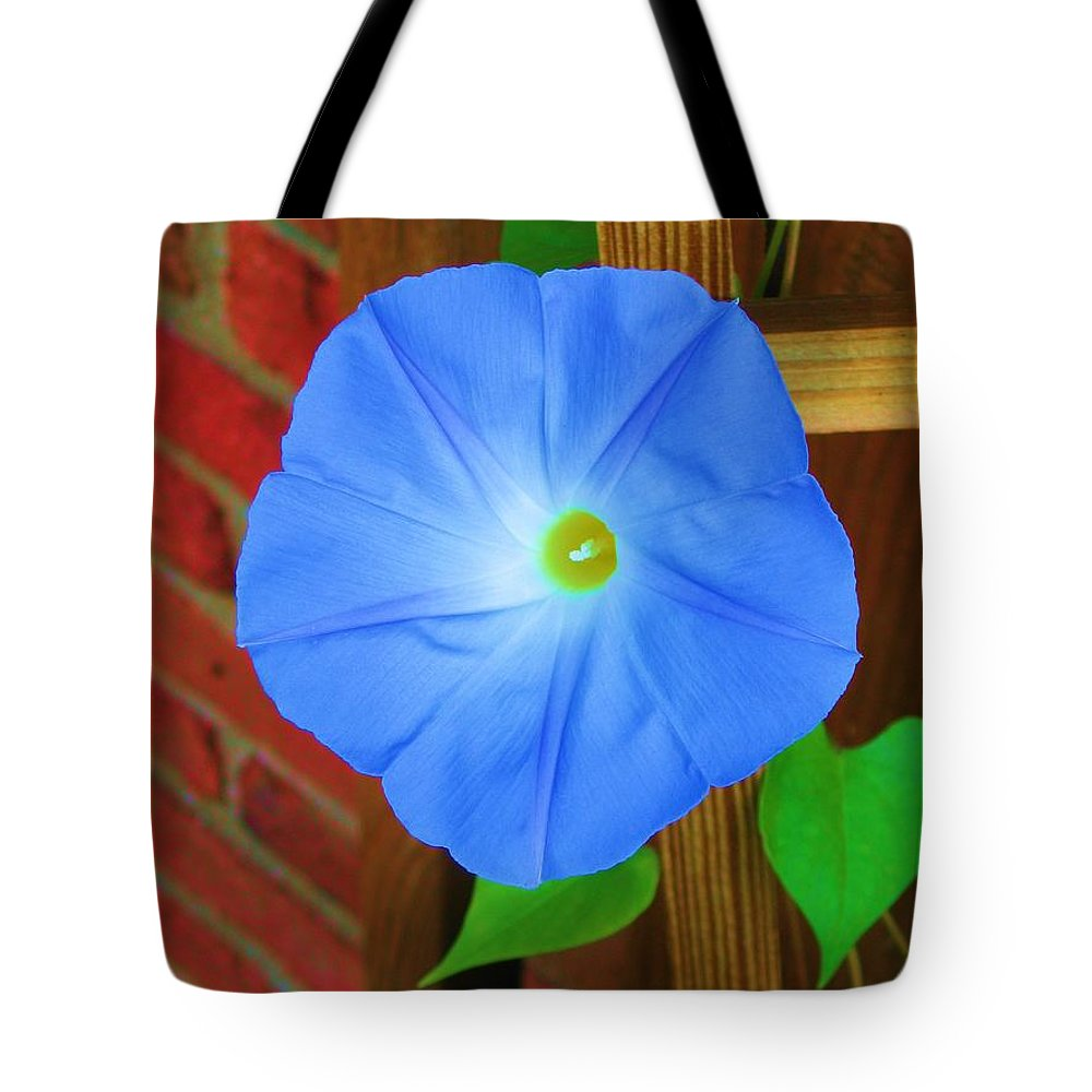 Flower Tote Bag featuring the photograph Blue Morning Glory by Susan Carella