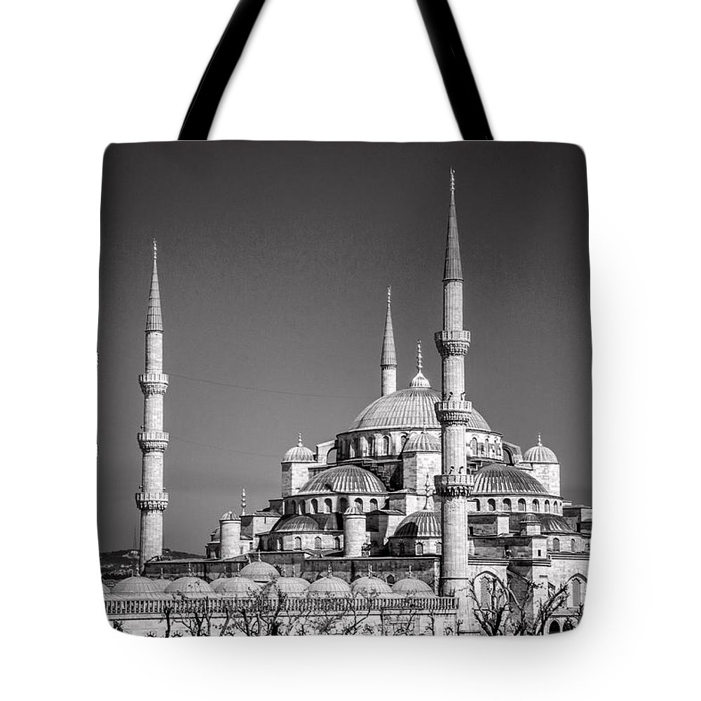 Istanbul Tote Bag featuring the photograph Blue Mosque Black And White by For Ninety One Days