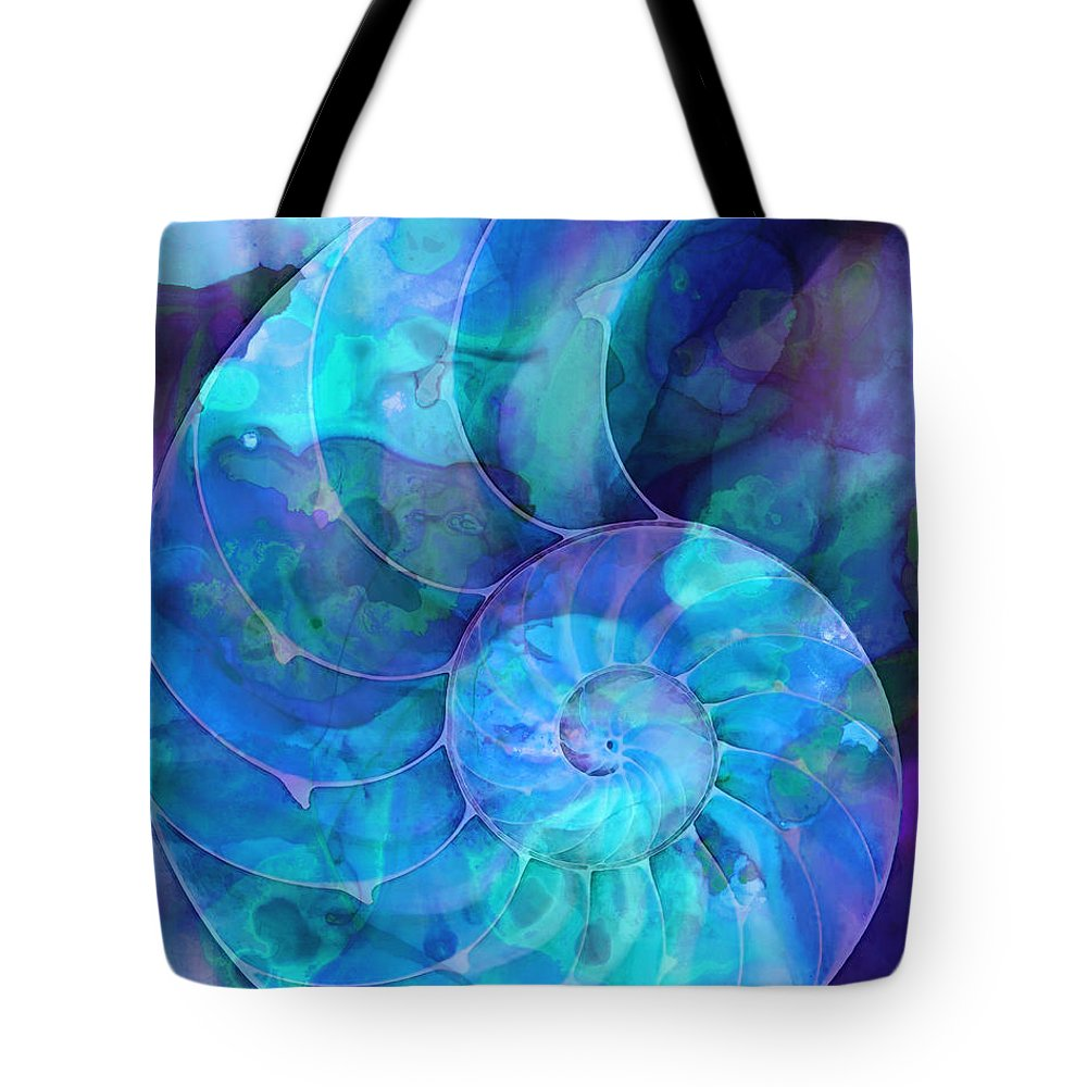 Blue Tote Bag featuring the painting Blue Nautilus Shell By Sharon Cummings by Sharon Cummings