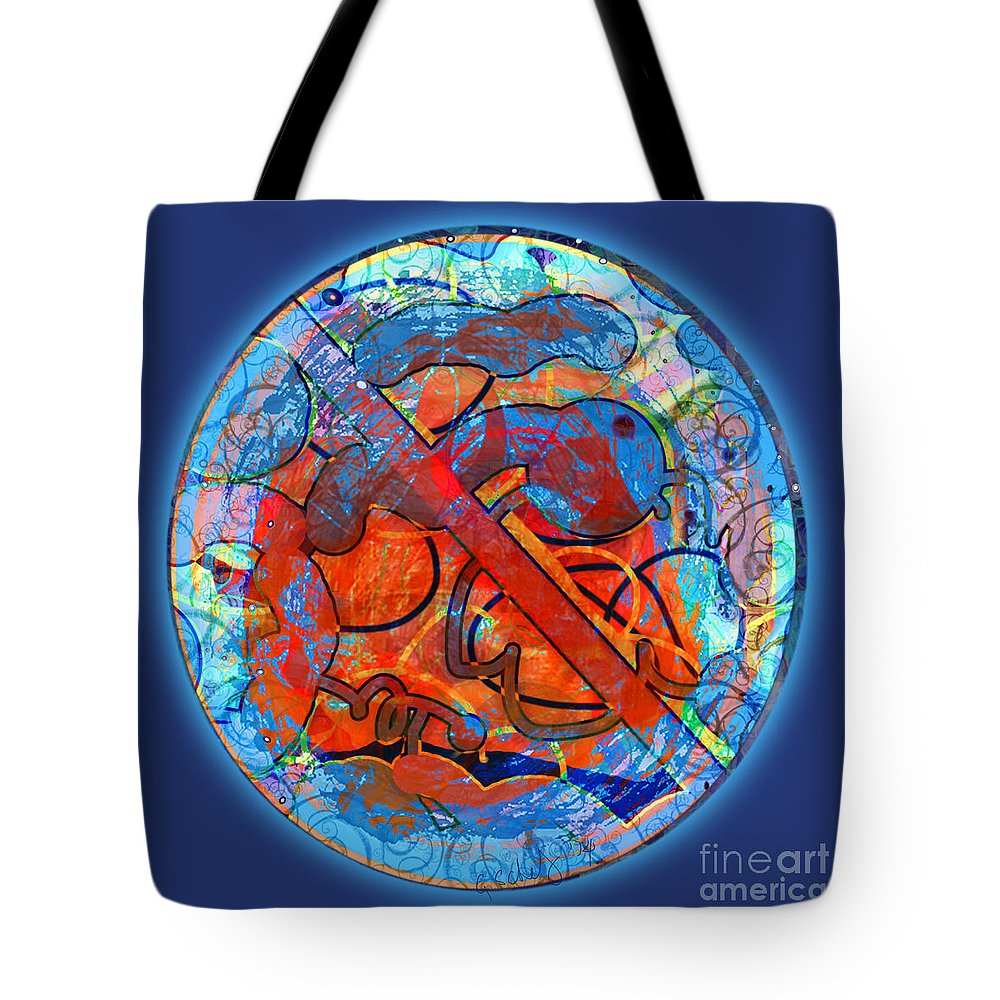 Abstract Tote Bag featuring the digital art Blue Plate by Gabrielle Schertz