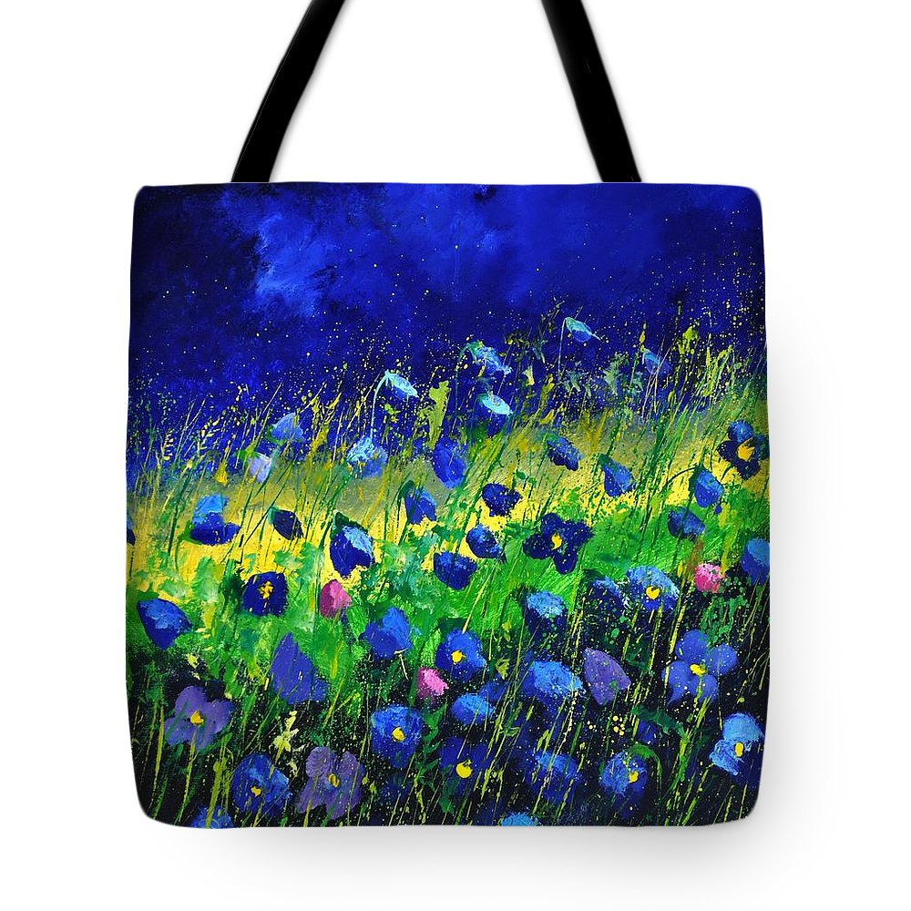 Landscape Tote Bag featuring the painting Blue poppies 674190 by Pol Ledent