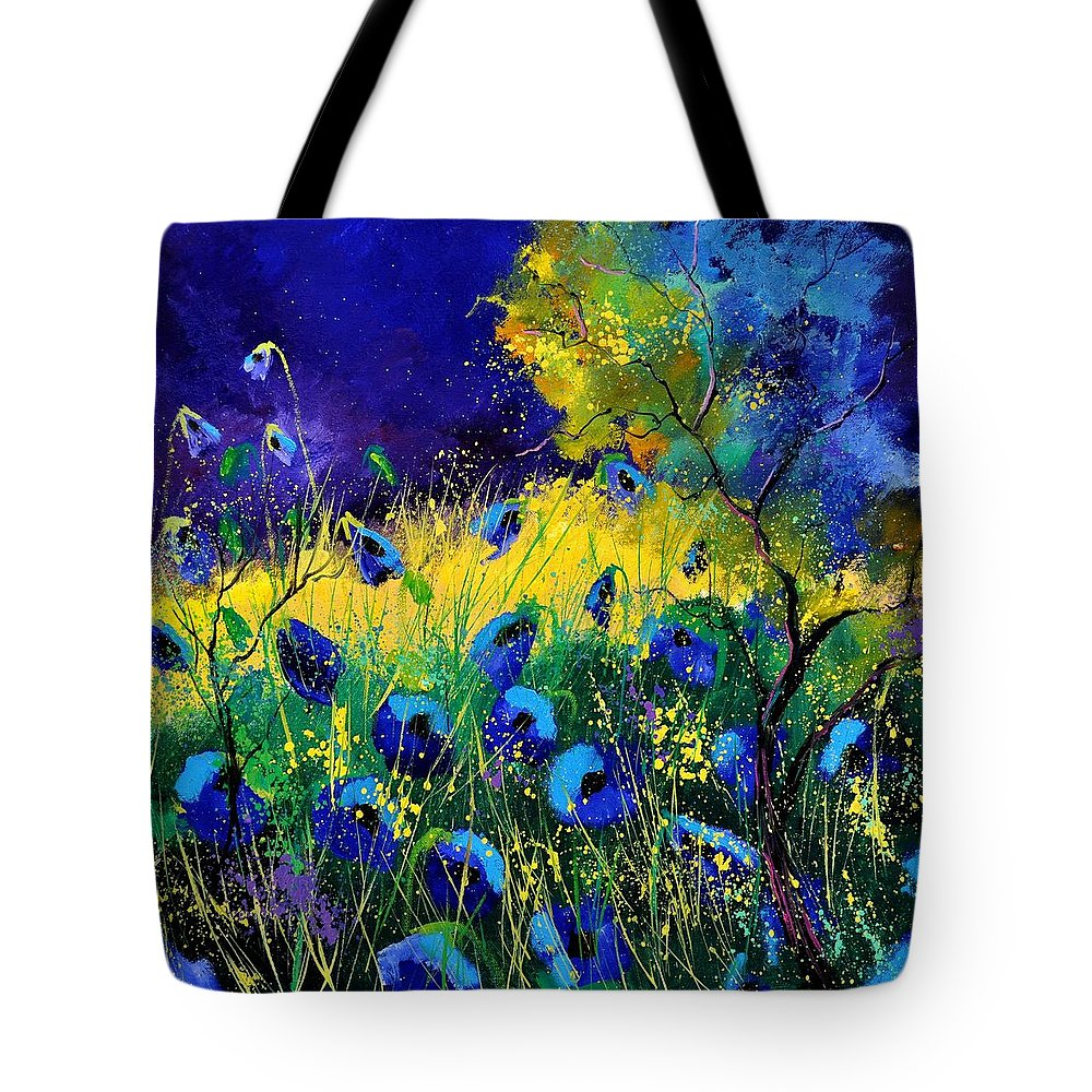 Landscape Tote Bag featuring the painting Blue poppies 7741 by Pol Ledent