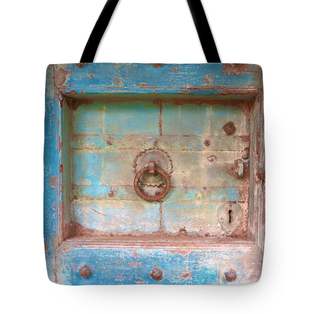 Old Door Tote Bag featuring the photograph Blue Relic by Angie Mahoney